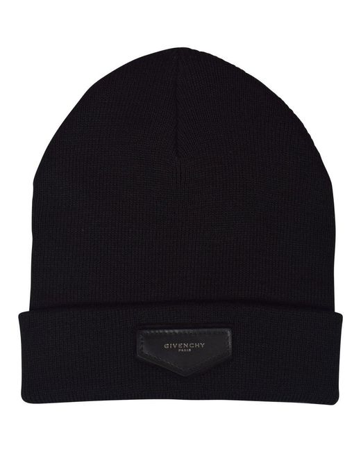 7c063fa175a Lyst - Givenchy Black Plaque Logo Beanie Hat in Black for Men