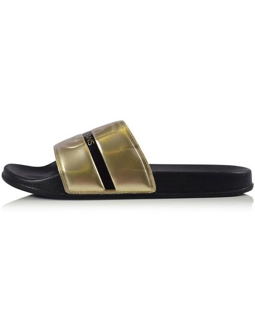 on feet images of size 40 united states Versace Jeans Denim Gold/black Vj Logo Sliders in Metallic for Men ...