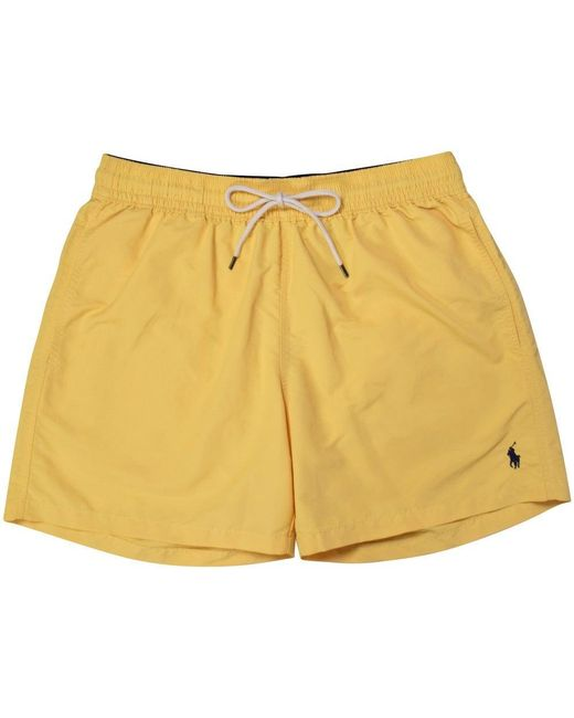 Polo Ralph Lauren Yellow Polo Logo Swim Shorts In Yellow For Men Lyst