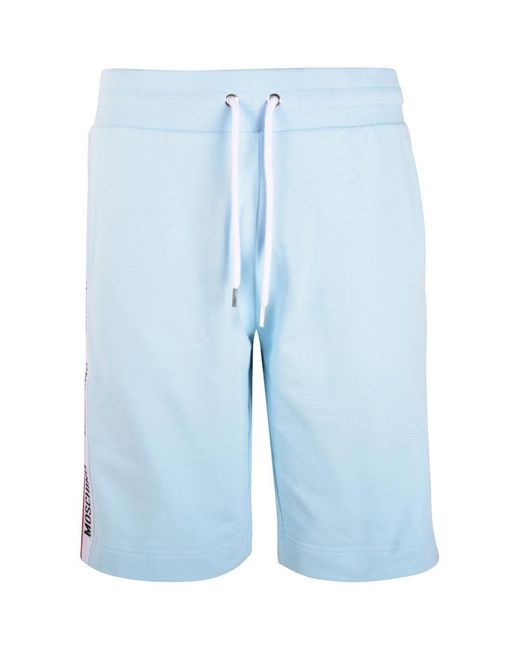Moschino Blue Logo Tape Cotton Shorts for men