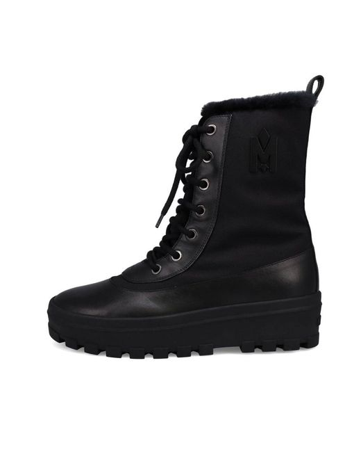 Mackage Black Hero Lug Sole Shearling-lined Winter Boots for men