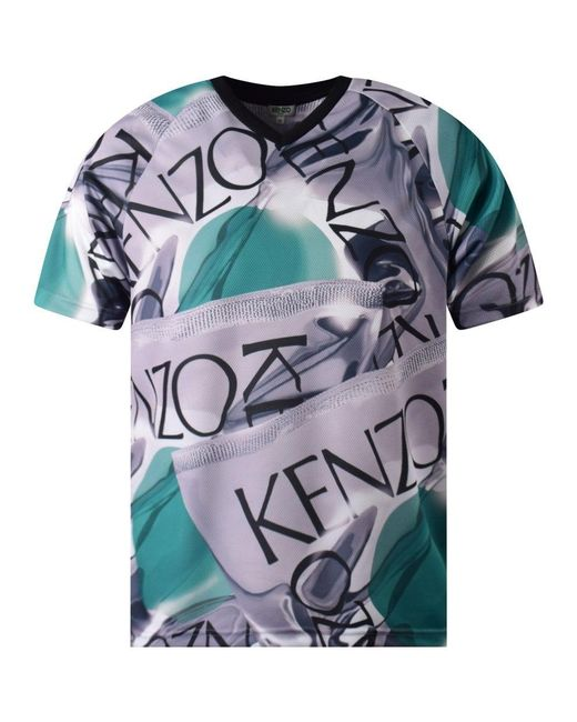 45eef7620 KENZO - Blue Loose Fit Sports T-shirt for Men - Lyst ...