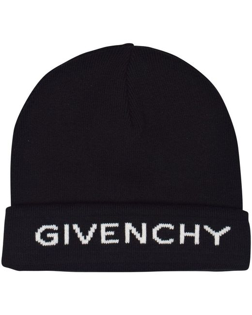 f09b566b993 Givenchy - Black And White Logo Cashmere And Cotton Beanie for Men - Lyst  ...