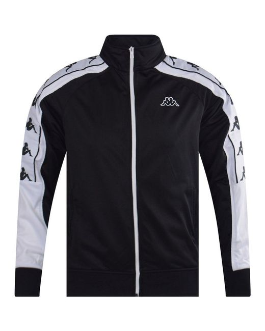 b615dc86923 Lyst - Kappa Black & White Branded Zip Through Track Top in Black ...