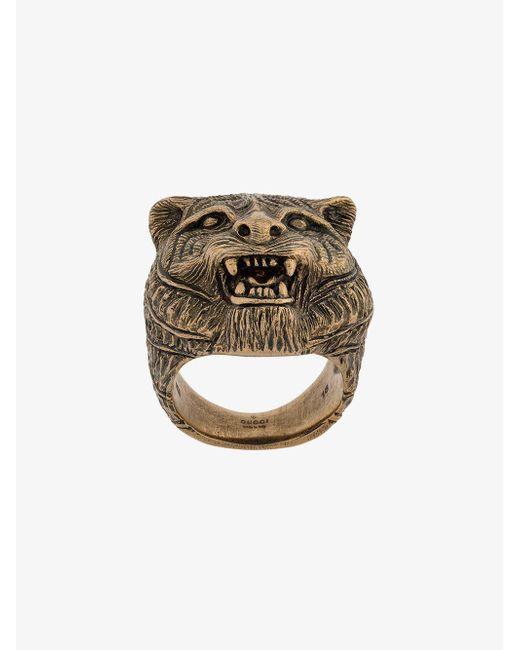 Gucci - Metallic Tiger Head Ring for Men - Lyst