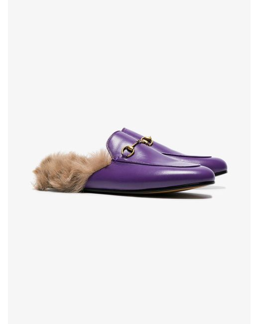 7b162acae04fe Gucci Purple Princetown Fur Lined Leather Mules in Purple - Lyst