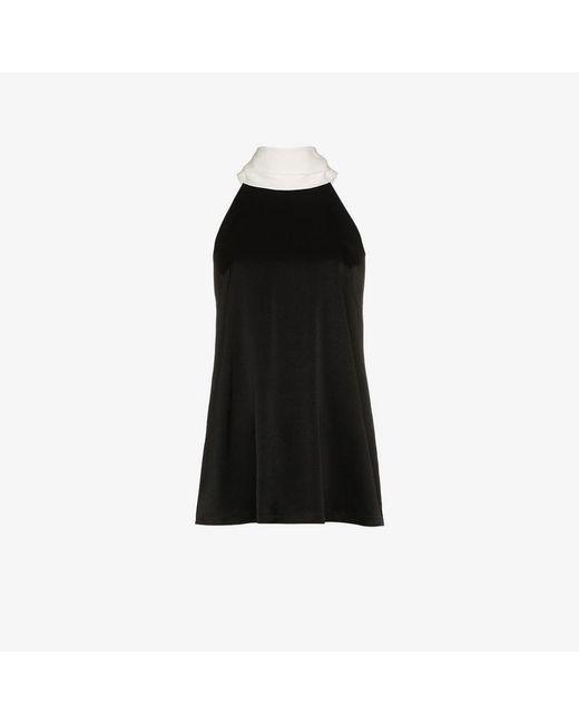 Galvan - Black Sash Neck Sleeveless Blouse - Lyst