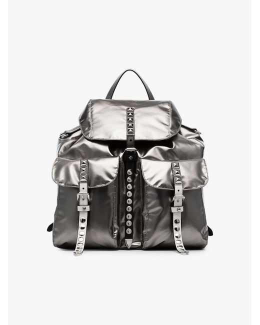 e6f5479ab8ee ... denmark where can i buy prada metallic stud embellished leather backpack  lyst c4f1e 84de3 ireland nylon