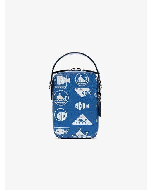 6b86b4b2601b Prada Brique Saffiano Bag in Blue for Men - Save 6% - Lyst