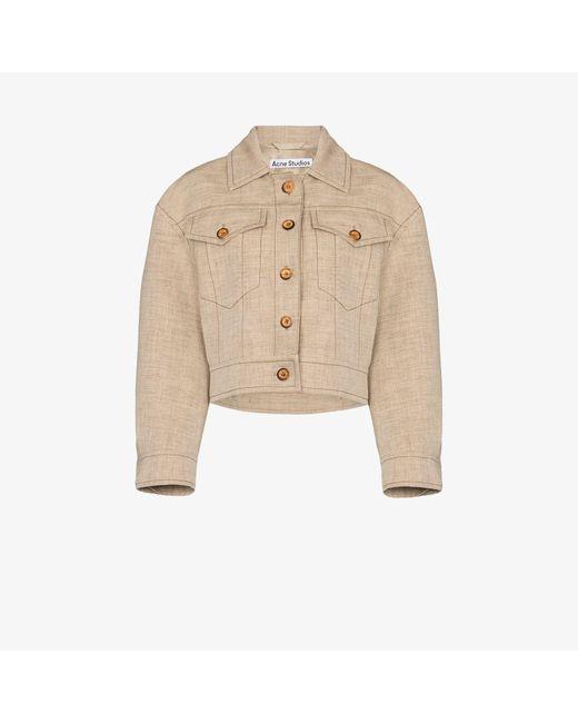 Acne Natural Otya Contrast Topstitched Jacket