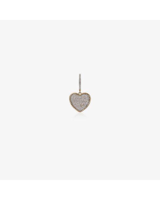 Yvonne Léon Metallic 18kt Gold Diamond Heart Hoop Earring