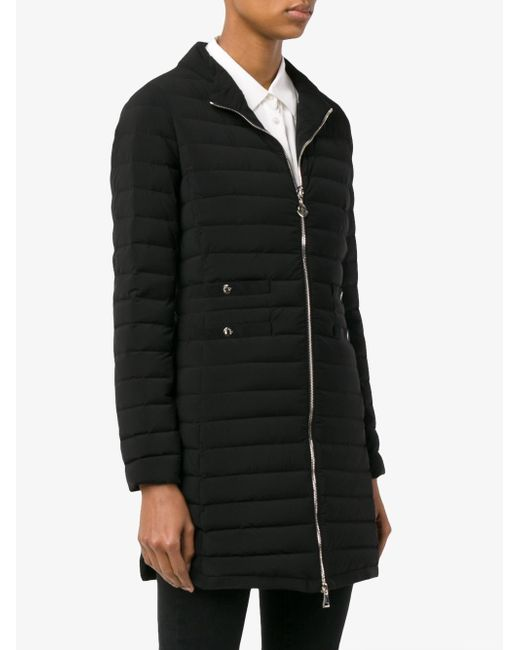 Moncler Long Quilted Jacket in Black   Lyst