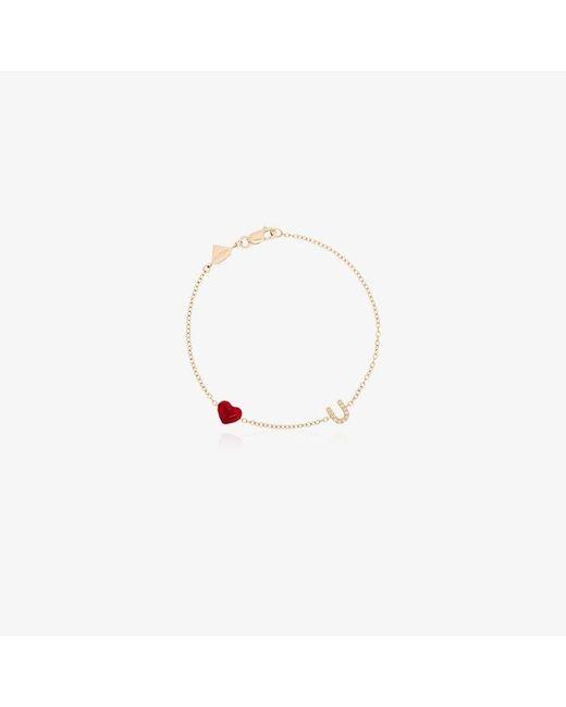 Alison Lou Metallic Love U 14-karat Gold, Diamond And Enamel Bracelet