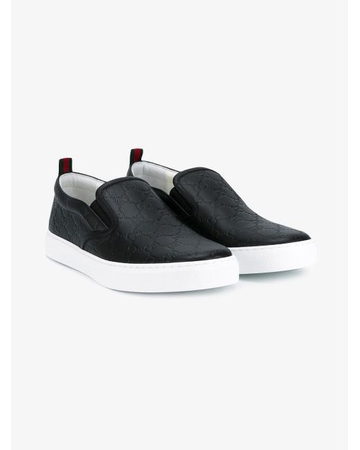 Gucci Signature Slip-on Trainers in Black for Men - Save 8 ...