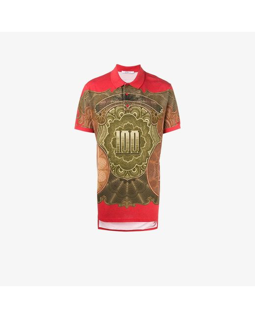 Givenchy | Red Dollar Print Polo Shirt for Men | Lyst
