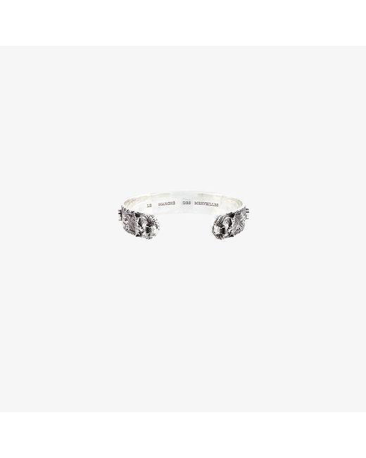 Gucci | Metallic Tiger Head Zirconium Bracelet for Men | Lyst