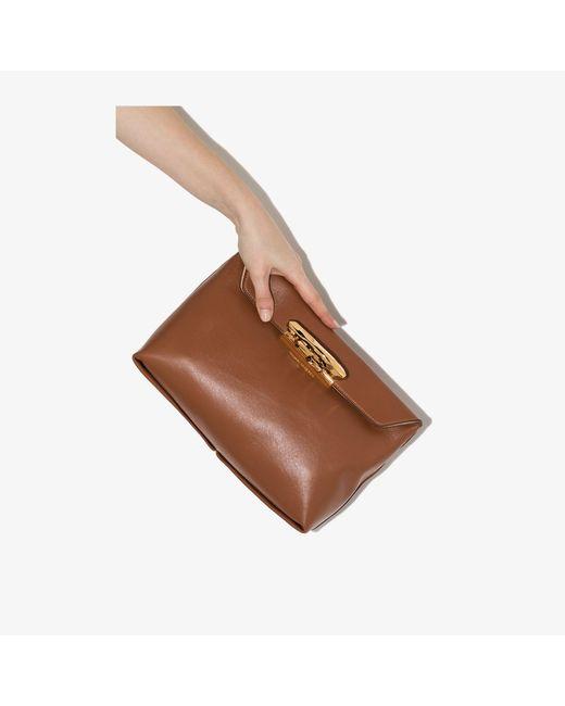 Alexander McQueen Brown Sculptural Leather Clutch Bag