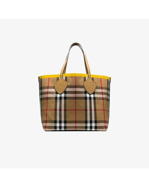 d6b743fbbfc9 Burberry - Brown Giant Check-print Tote - Lyst ...