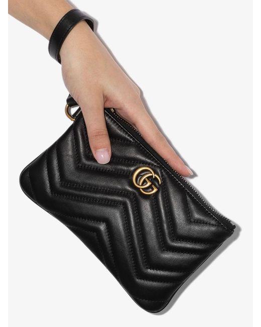 Gucci Black Marmont Leather Wrist Wallet