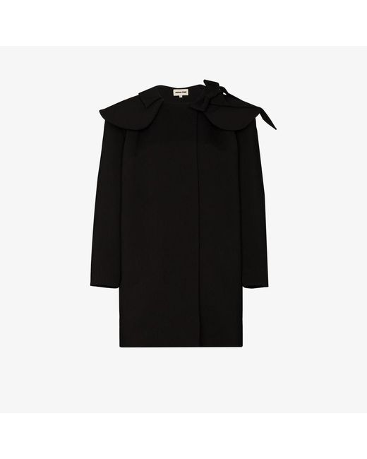ShuShu/Tong Black exaggerated Collar Cocoon Overcoat