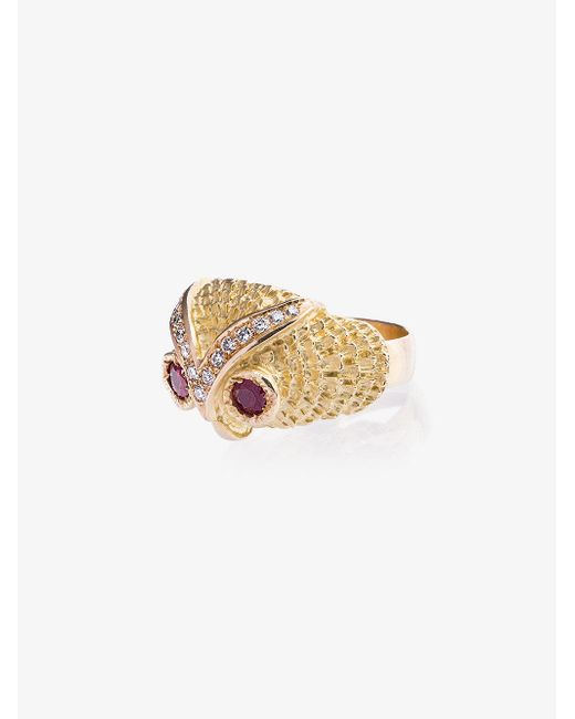 Yvonne Léon - Metallic Gold Owl Diamond Ring - Lyst