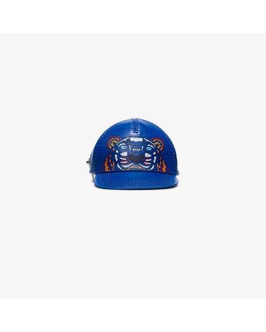KENZO - Blue Tiger Motif Leather Cap Wallet for Men - Lyst