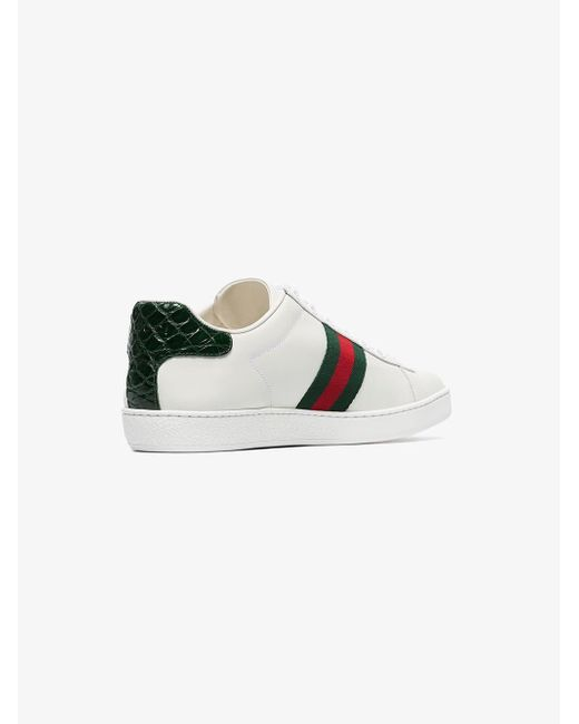 a7f90904d Gucci Ace Leather Sneakers in White - Save 5% - Lyst
