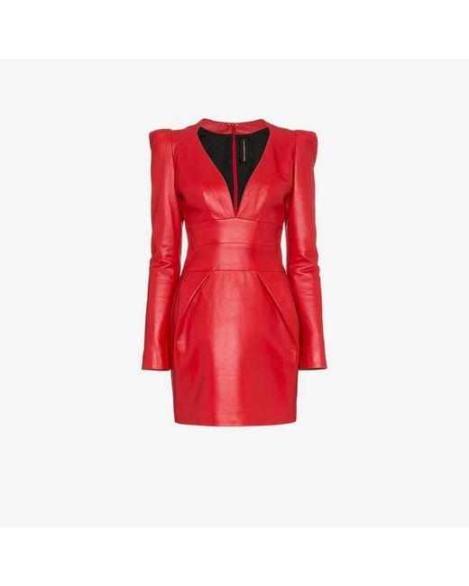 0d06602f843c Alexandre Vauthier - Red Leather Mini Dress - Lyst ...