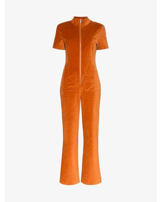 Staud Orange Zip-front Velvet Jumpsuit