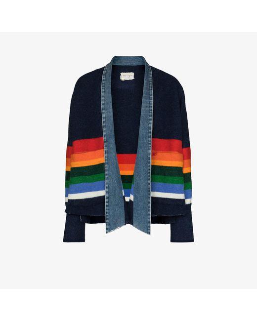 Greg Lauren Blue Striped Blanket Kimono Jacket for men