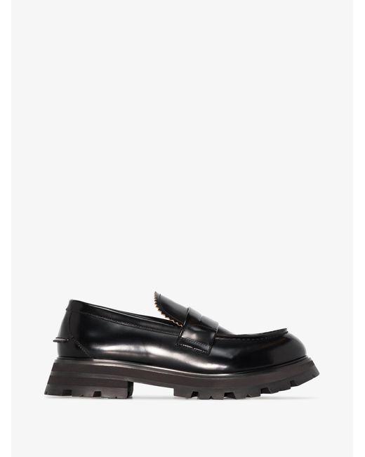 Alexander McQueen Black Worker Leather Loafers for men