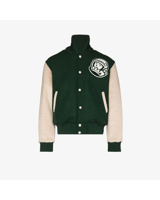 BBCICECREAM Green Astro Varsity Bomber Jacket for men