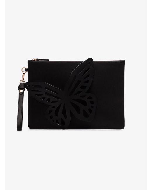 899dc615c387 Lyst - Sophia Webster Black Flossy Butterfly Clutch Bag in Black ...