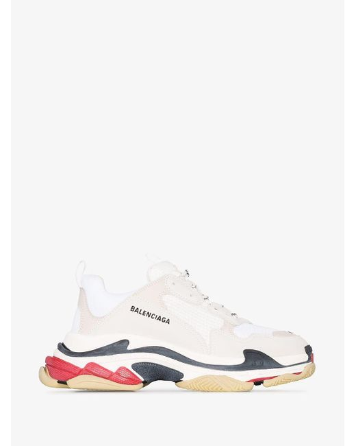 Balenciaga White And Red Triple S Sneakers for men