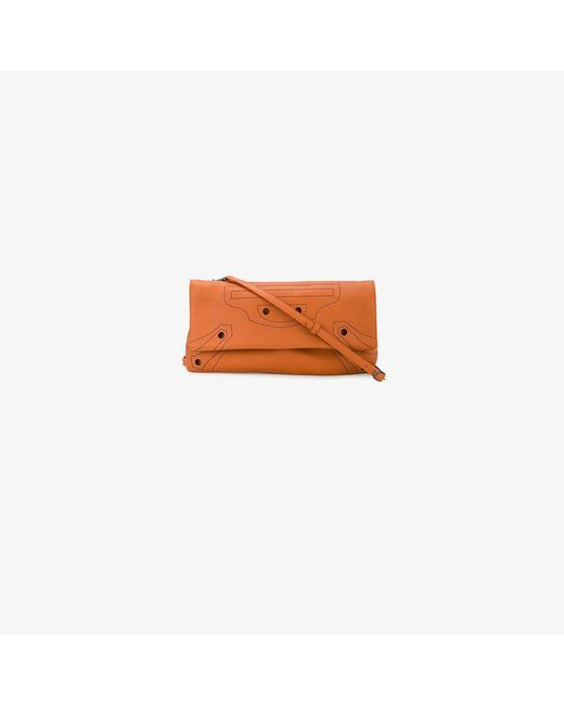 Orange Blackout Leather Clutch Bag Balenciaga xrnIMK8CS
