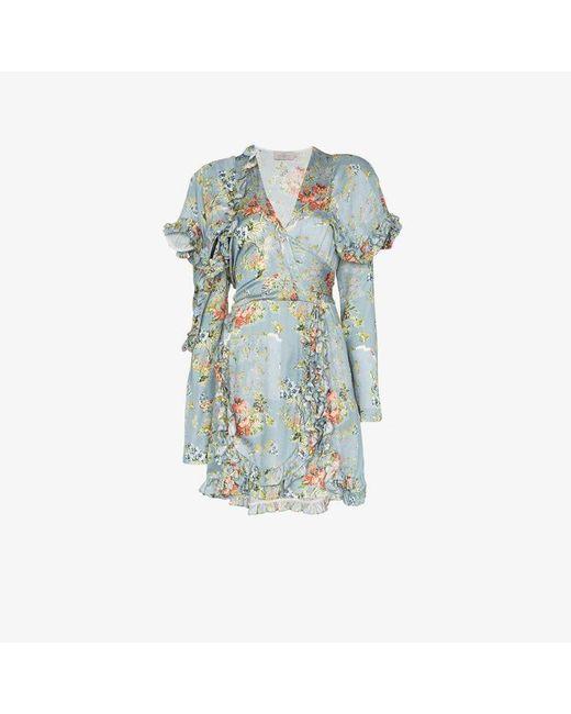 Preen By Thornton Bregazzi Blue Rylee Floral Ruffle Mini Dress