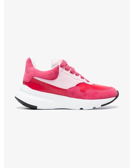 Alexander McQueen - Red Oversized Runner Leather Sneakers - Lyst