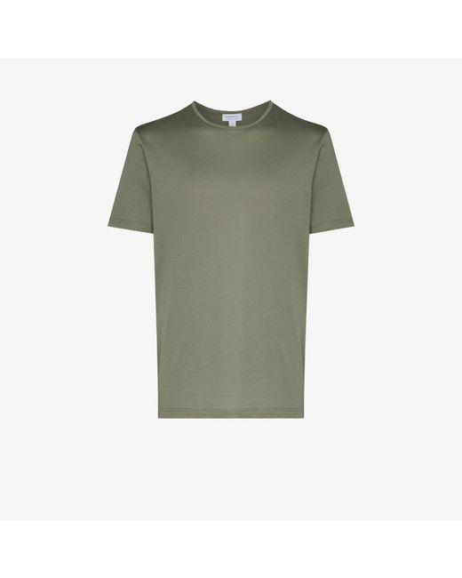 Sunspel Green Cotton T-shirt for men
