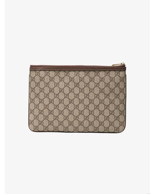 3950bf0e9 Gucci Brown Ophidia GG Supreme Leather Pouch in Brown - Save 15% - Lyst