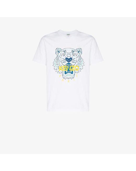 KENZO White Tiger Motif Print T-shirt for men