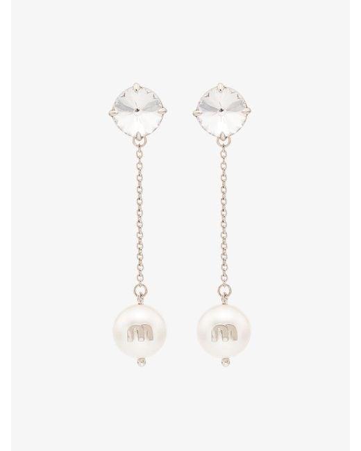 Miu Miu White Crystal And Pearl Drop Earrings