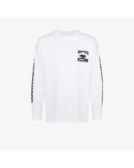Neighborhood White Logo Print Long Sleeve T-shirt for men