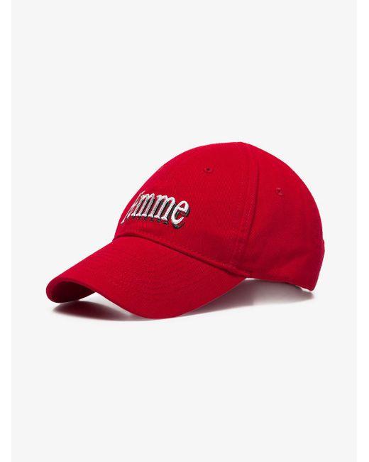 3cc6ccabda1 ... Balenciaga - Red Femme Embroidered Baseball Cap - Lyst ...