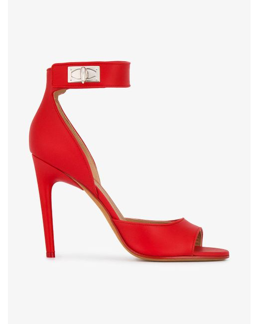 Givenchy - Red Shark Lock Suede Sandals - Lyst