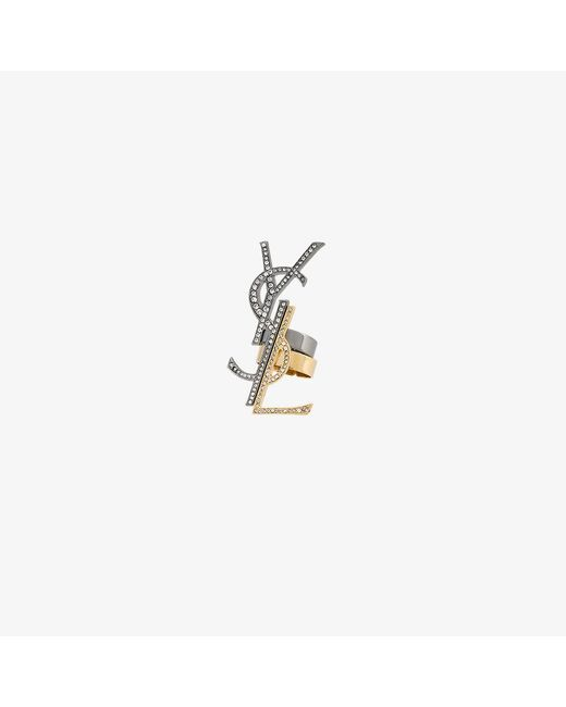 Saint Laurent | Metallic Monogramme Destructure Ring Set | Lyst