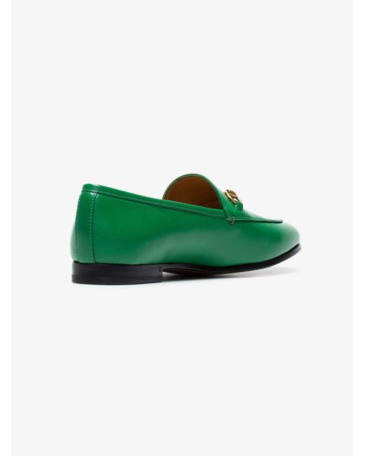 27ba334e46f Lyst - Gucci Green Jordaan Leather Loafers in Green