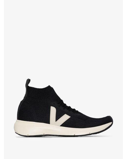 Rick Owens X Veja Black And White Sock Runner Low Top Sneakers
