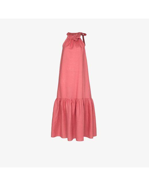 Asceno Pink Ibiza Halterneck Midi Dress