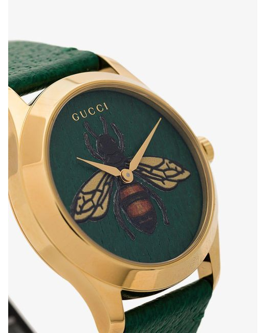 2a90322aa83 Gucci G-timeless Bee Print Leather Watch in Green - Save 11% - Lyst