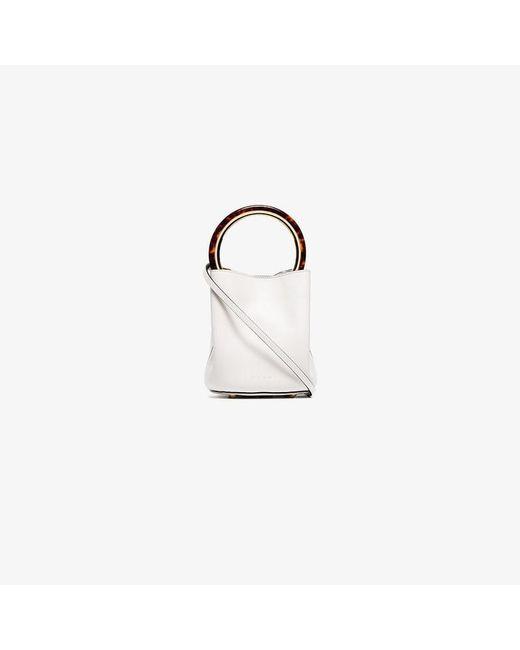 Women's White Panier Resin Handle Leather Bucket Bag by Marni